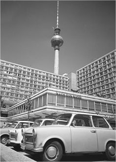 Haus der Mode, a Trabant, and the Television Tower in East Berlin in the 1970s