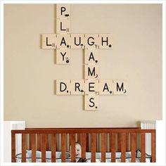 DIY - Wall Art with Inspiring words for baby. Easy to make your own.