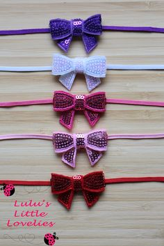 """Valentines Bow Headband, Valentine Headband Set, 5 Bows, 1.5"""" Red Pink White Purple Sequin Bows , Babyshower gift,  Newborn photoprop - pinned by pin4etsy.com"""