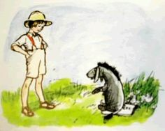 Christopher Robin has a word with Eeyore