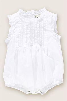 Smocked white onesie