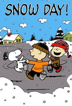 Snoopy, Charlie Brown, & Linus celebrate a snow day.