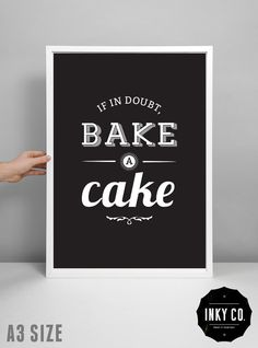 Cake print kitchen decor scandinavian design by InkyCreative, $6.00