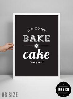 Cake print kitchen decor scandinavian design by InkyCreative, $6.00