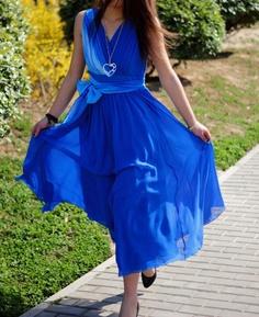 Blue chiffon long dress MM44    30off by xiaolizi on Etsy, $73.50