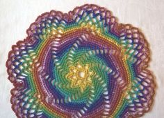 Rainbow Spiral Doily/Table Center by tabachin on Etsy, $24.50