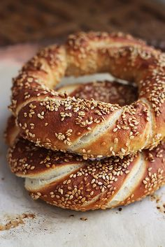How to Make Simit, Turkish Bread Rings by kunitsa. Proofs overnight, so it'd be great for breakfast -- only about an hour of work (including baking) in the morning.