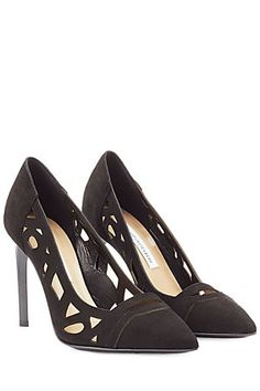 Detailed with a cut-out design, these black suede pumps are full of the confident attitude that we love about Diane von Furstenberg #Stylebop