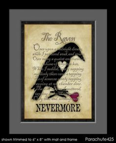"""Beautiful print featuring a broken hearted raven and the first stanza from Edgar Allan Poe's """"The Raven""""."""