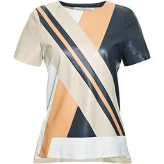 Jonathan Simkhai Leather Riot Tee ($845) ❤ liked on Polyvore featuring tops, t-shirts, short sleeve tee, color block tee, color block top, colorblock tee and color block t shirt