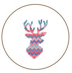 Deer cross stitch Modern Cross Stitch Pattern by ZindagiDesigns