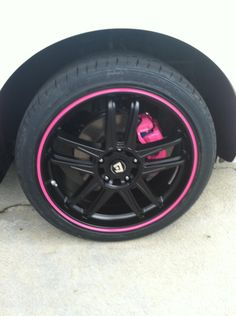 Nice pink and black wheels #CaliperPaint or #CaliperCovers? Which do you prefer? Check out our selection here:http://www.rvinyl.com/Caliper-Covers.html