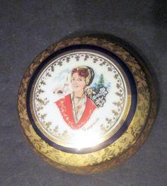 Made in France R Porcelaine Du Manoir Blue and Gold Trinket Box Artist Signed