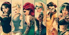 Disney Beauties with tattoos Ariel, Belle, Cinderella, Alice .... Inked