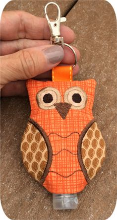 Hand Embroidery In The Hoop :: Owl Hand Sanitizer Holders Set - Embroidery Garden In the Hoop Machine Embroidery Designs - Machine Embroidery Projects, Learn Embroidery, Hand Embroidery Patterns, Embroidery Applique, Sewing Patterns, Brother Embroidery, Rose Embroidery, Easy Sewing Projects, Sewing Projects For Beginners