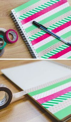 DIY washi tape notebooks - we could have them decorate/collage notebooks or journals