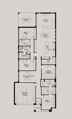 evanstone vale plan- Dechellis Homes Dream House Exterior, Dream House Plans, Narrow House, Elderly Home, Double Garage, Shop Window Displays, Shop Plans, Home Jobs, Next At Home