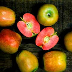Mountain Rose Apples <  Rare Heritage Breed Fruit  An apple a day usually keeps the doctors away, but this rare fruit will bring them running. Mountain Rose Apples are a Japanese heirloom breed, available in extremely limited quantities. Bright red all the way through, even when cooked,