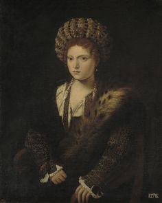 Tiziano, Vecellio di Gregorio (Italian, c.1488/1490 – 1576) - Isabel de Este, marquesa de Mantua, Siglos XVI - XVII.  Museo Nacional del Prado