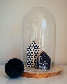 """Houtprint huisje """"Grafisch"""" stolp en huisjes verkrijgbaar in onze webshop www.bynoth.nl"""