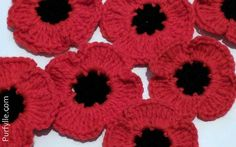 When crocheting remembrance poppies to be used as part of a tribute in honour of soldiers that served in the Armed Forces with a large poppy display there are a two of things that are desirable for a crochet pattern Knitted Poppy Free Pattern, Crochet Angel Pattern, Free Crochet Doily Patterns, Knit Patterns, Crochet Flower Squares, Crochet Puff Flower, Crochet Flowers, Knitted Poppies, Fast Crochet