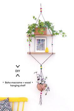 DIY boho macrame + wood hanging shelf · DIY estantería colgante de madera y macramé   Dr. Livinghome. A modern DIY blog
