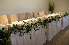 Naomi Rose Floral Design   Bridal table garland   Wedding flowers   Vintage bridal table