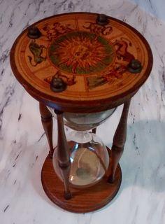 Vintage Wooden Hourglass Italian made zodiac by DustBunnyEmporium
