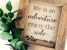 Life is an Adventure Enjoy the Ride Burlap printed sign | Farmhouse Rustic Cottage style home decor | Gallery Wall | Tribal Arrow