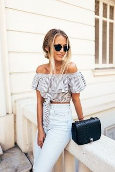 a239142cadb1aa Women Ladies Striped Casual Off the Shoulder Slash Neck Shirt Short Sleeve  Ruffles Striped Lace-up Short Crop Top Shirt Blouse