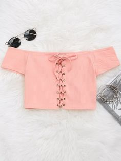 SHARE & Get it FREE | Lace Up Ribbed Off Shoulder Top - Pink MFor Fashion Lovers only:80,000+ Items • New Arrivals Daily Join Zaful: Get YOUR $50 NOW!