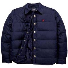 Farah Down Coach Jacket ($91) ❤ liked on Polyvore featuring outerwear, jackets, blue jackets, coach jacket and farah jacket