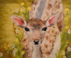 Felt picture made by wet felting and embroidery.  Baby deer in the buttercups :)  www.feltiefare.com