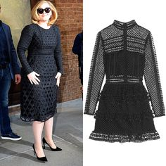 Again, Adele showed her penchant for black, but this time she did so in a long-sleeved lace dress that she accented with black pointy-toe pumps.
