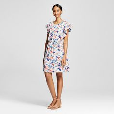 Image result for merona white floral dress with ruffle