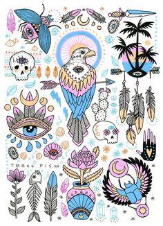 Art and illustration by Rachel Urquhart Art And Illustration, Illustrations, Sweet Magic, Kunst Tattoos, Doodles, Flash Art, Skin Art, Art Inspo, Original Artwork