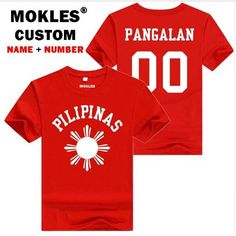 Philippines Printed T Shirt for Men & Women (Free DIY Custom Made Name & Number)