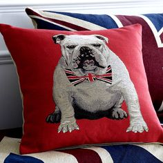 Bulldog pillow with Union Jack bowtie