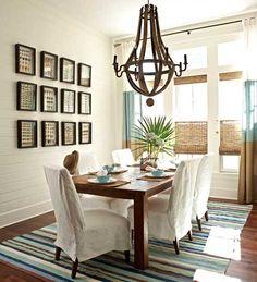 "Country Chic Farmhouse Dining Room.  Traditional Home Magazine, ""Kaleidoscope By the Sea,"" Interior decorator: Georgia Carlee, GCI Design #beach house"