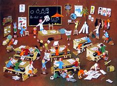 The Art Class by Marie-Louise Batardy - GINA Gallery of International Naive Art