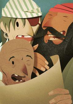"""Treasure Island"" cut paper illustrations by Bomboland Pirate Illustration, Cut Paper Illustration, Graphic Illustration, Arte Pop Up, Robert Louis Stevenson, Paper Artwork, Treasure Island, Illustrations, Character Design"