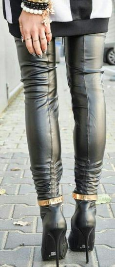 Black leather thigh boots