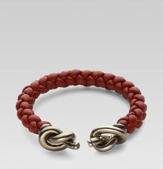 Gucci Silver Woven Leather Bracelet with Knot Details #gucci #silver #bracelet
