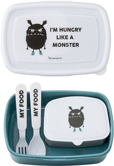 Bloomingville Lunchlåda I'm Hungry Like A Monster Lunchbox Kind, Monster Food, Dog Tag Necklace, Kids, Childrens Gifts, Scandinavian, Shun Cutlery, Home Decor Accessories, Blue