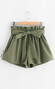 58e9f10ad5 Ruffle Waist Self Belt Shorts Shorts Em Geral
