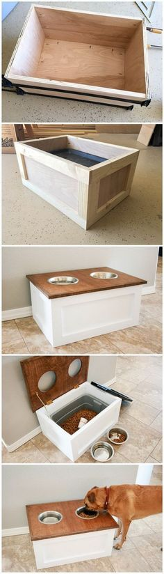 DIY Dog Food Station with Storage: DIY Dog Food Station with Storage underneath! Here is a free plan for you. Diy Furniture Hacks, Dog Furniture, Dog Food Storage, Diys For Dogs, Crafts For Dogs, Puppy Crafts, Christmas Gifts For Babies, Christmas Ideas For Husband, Christmas Puppy