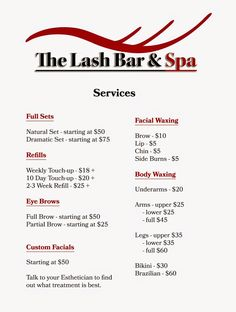 The Lash Bar And Spa Price List