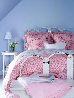 blue and pink cottage bedroom - love the wall color!