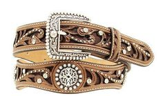 Ariat Womens Western Scallop Rhinestone Brown Leather Belt - Women's Belts - http://amzn.to/2hOqA0h