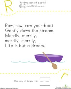 """How many R's are in """"Row, Row, Row Your Boat""""? Kids find and count each letter R in the song on this kindergarten reading worksheet."""